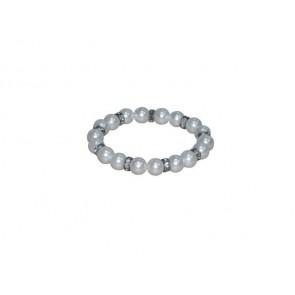 Detalle bautizo pulsera perla blanco con brillo