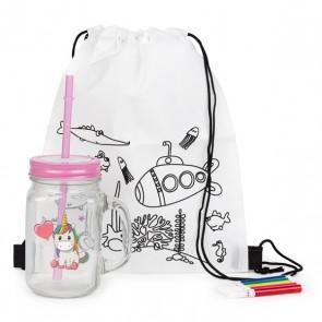 Mochila con jarra unicornio para detalle niñas