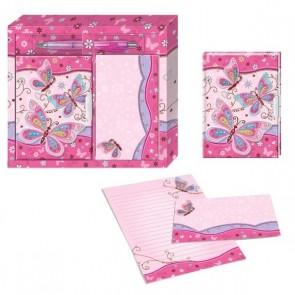 Detalle de Bautizo para niños bloc de notas mas diario y bolígrafo en caja de regalo mariposas