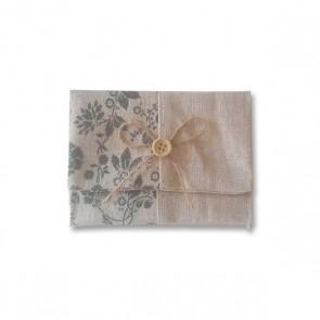 Portatodo yute floral detalle bautizo