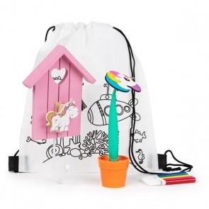 Mochila con percha de unicornio y boli maceta para detalle niñas