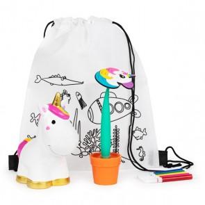 Mochila con hucha unicornio más boli maceta para detalle bautizo niños