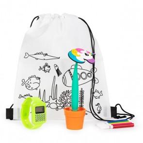 Mochila con reloj calculadora y boli maceta para detalle de niños