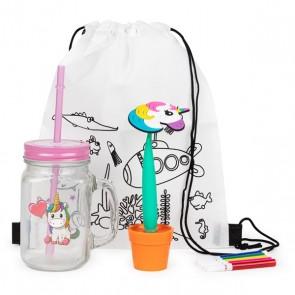 Mochila con jarra unicornio y boli maceta para detalle de niña