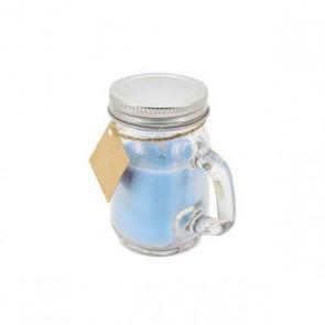 Vela jarrita azul para detalle bautizo
