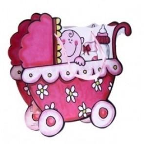 Detalle para bautizo bolsa de regalo carrito rosa
